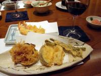 つな八の天ぷら&赤ワインのコラボ