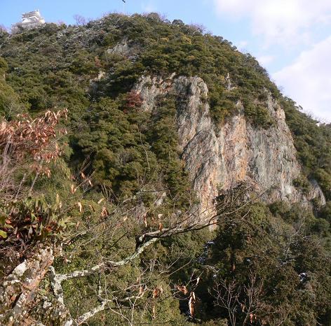 岐阜城下の絶壁