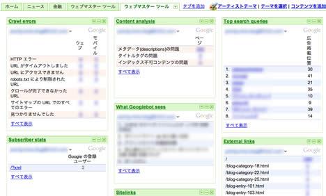 iGoogleウエブマスターツールタブ