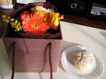 押し麦パン&お花