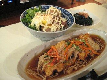 あんかけ豆腐&豚肉半熟たまご丼