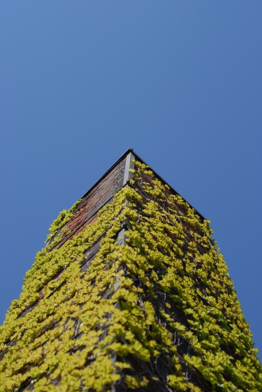 レンガ造りの煙突と青い空