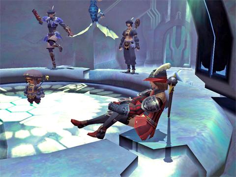 竜騎士と子竜の踊りを観ながら談笑してます~^^