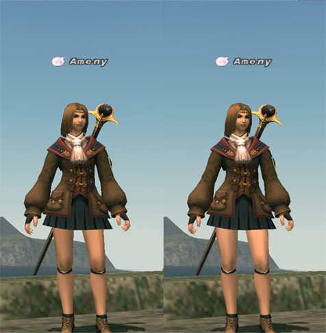 向って左がスカラーパンツ有、右が脱いだ状態です、左は、膝から下と色がちがいます