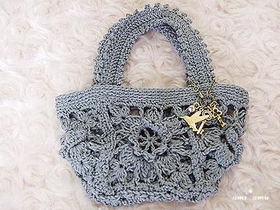 花モチーフ編み鞄(グレー)