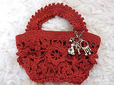 花モチーフ編み鞄(赤)