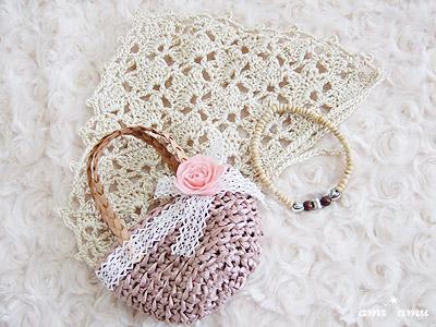 コサージュ付き編み鞄セット