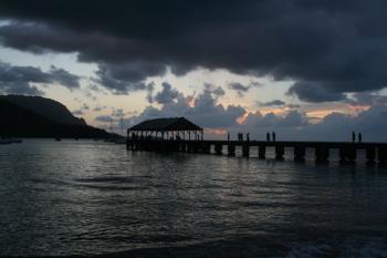 ハナレイ Pier の夕焼け