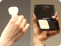 マキケーキ UVアンフィニテをペタル アプリケーションというスポンジの持ち方で