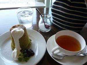 抹茶シフォンとラズベリーティー