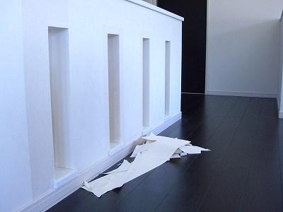 腰壁の壁紙補修