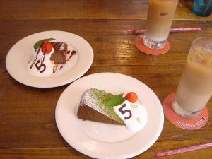 20080522_0004 チョコレートチーズケーキ・抹茶とクルミのバターケーキ