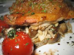 カリッと焼き上がった鶏モモ肉に大根おろしと大葉、下にはキノコがたっぷり♪