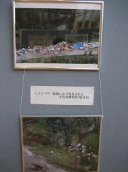 違法投棄されている廃棄物の写真パネル