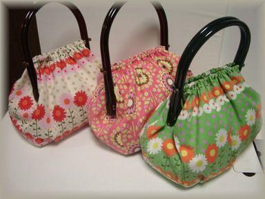 プラ持ち手花柄バッグ3個