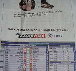 プロパッジディコでもらえる、賭け事関連のリスト(F1,サッカー、バスケット、ワールドカップetc.が載っている)