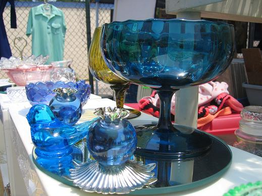 blue glasswear