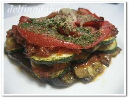 なすとズッキーニとトマトの重ね焼き