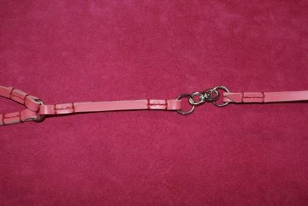 ヌメ革ピンク2頭引きリード回転カン
