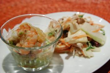海老とグレープフルーツのカクテル、ブラジルサラダ