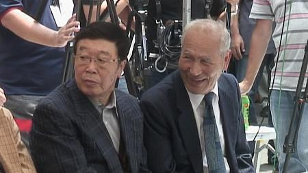 「こもろ寅さん会館」館長、井出勢可さんと日本喜劇人協会会長、橋達也氏