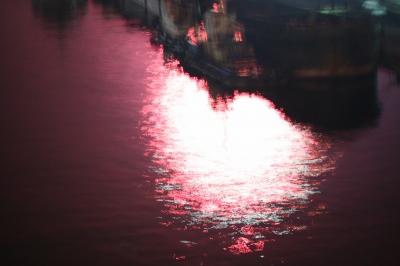 花火が水面に映る