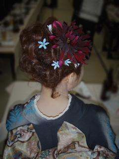 黒蝶とブルースターのヘアオーナメント
