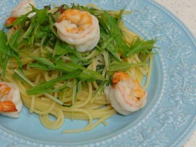 海老と水菜のペペロンチーノ