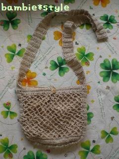 リネンの編み編みショルダー