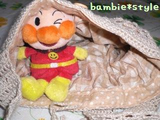 リネンの編み編みショルダー(中)
