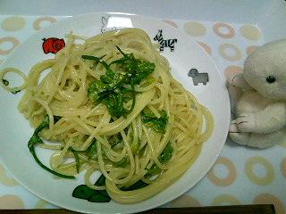 菜の花と明太子のクリームスパ