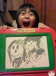 080325 ハヤテも描ぃた家族5人。左上からママ、パパ 下の左からハヤテ、ユウヤ、リョウ