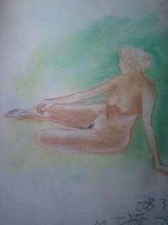 裸婦デッサン床座りポーズ