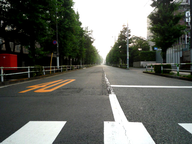 道の先に朝日が