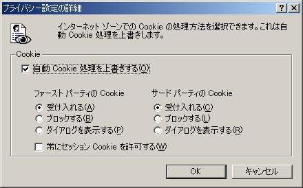 自動Cookie上書き