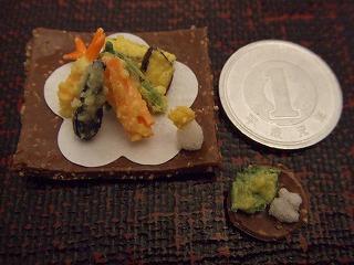 ミニチュア粘土 天ぷら1円玉比べ