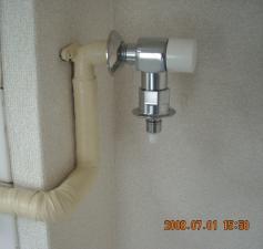 緊急止水弁付洗濯機用水栓に交換取付