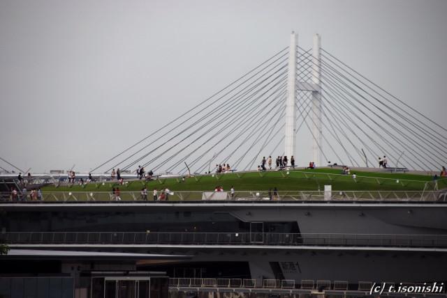 横浜ベイブリッジと大桟橋(2008/6/28)