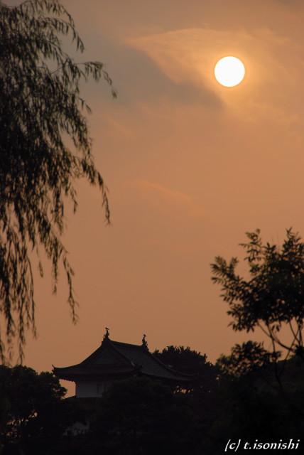 富士見櫓と夕日(2008/7/20)