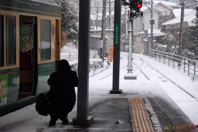 雪の稲村ガ崎(2008/2/3)