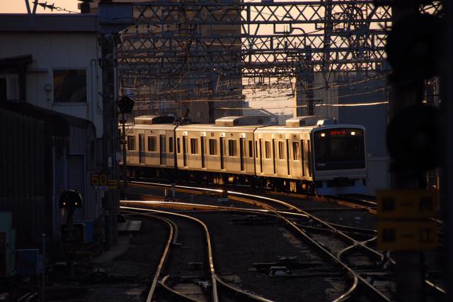 夕日のあたる電車(2008/2/11)