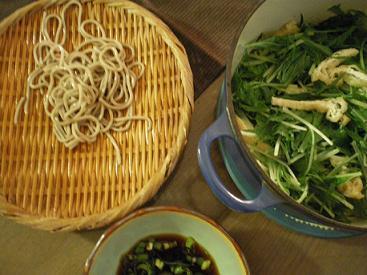 ざる蕎麦と水菜