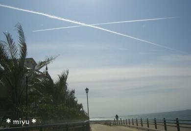 濃い~飛行機雲゚・*:.。o(*'▽')〇))