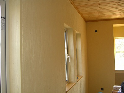 珪藻土の室内壁と天井のパネリング