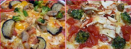 彩り野菜のピザ&木の子と完熟トマトのピザ