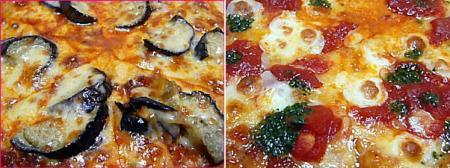 ナスとミートソースのピザ&フレッシュモッツァレラのマルゲリータ