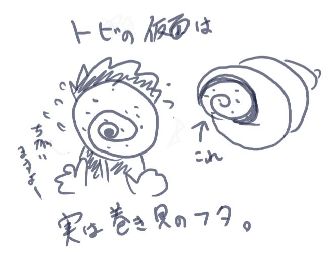 トビの仮面=巻貝の蓋