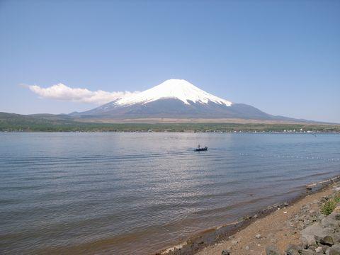 湖畔から望む富士山