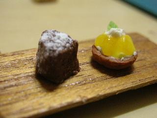 チョコレートケーキ&オレンジタルト