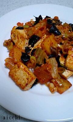 豆腐キムチ海苔炒め